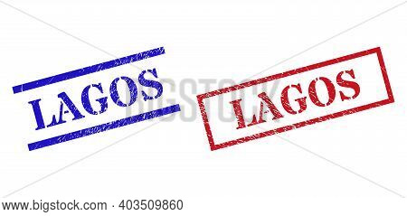 Grunge Lagos Rubber Stamps In Red And Blue Colors. Seals Have Rubber Style. Vector Rubber Imitations