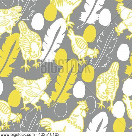 Vector Seamless Easter Pattern, Colors 2021, Ultimate Grey And Illuminatig Yellow. Hens, Cocks, Eggs