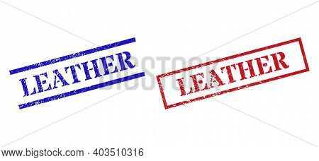 Grunge Leather Rubber Stamps In Red And Blue Colors. Stamps Have Draft Style. Vector Rubber Imitatio