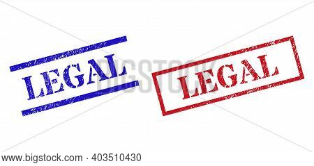 Grunge Legal Rubber Stamps In Red And Blue Colors. Stamps Have Rubber Surface. Vector Rubber Imitati