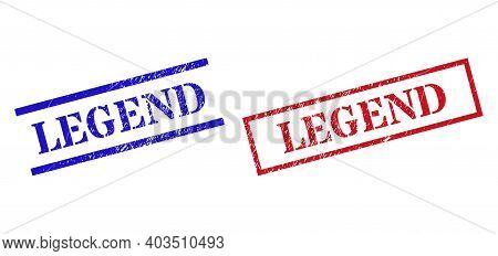 Grunge Legend Seal Stamps In Red And Blue Colors. Stamps Have Rubber Texture. Vector Rubber Imitatio