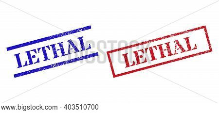 Grunge Lethal Rubber Stamps In Red And Blue Colors. Seals Have Rubber Surface. Vector Rubber Imitati