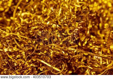 Copper Shavings. Copper Processing On Cnc Machines In Production