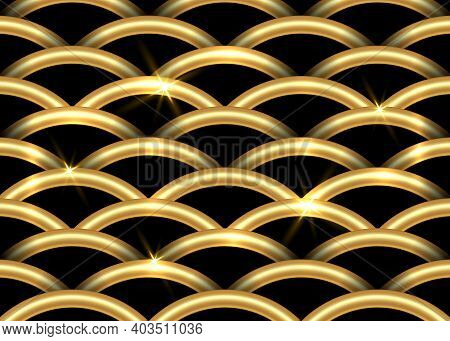 Golden Fish-scale Pattern. Beautiful Oriental Tiled Trellis Of 3d Half-circles With Shining Gold Ele
