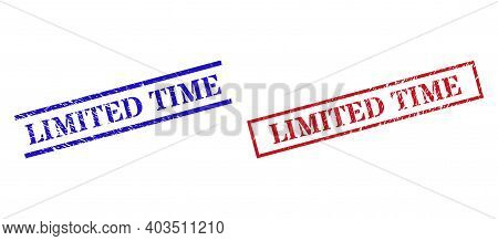 Grunge Limited Time Rubber Stamps In Red And Blue Colors. Seals Have Draft Surface. Vector Rubber Im