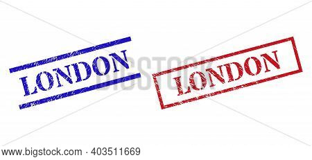 Grunge London Stamp Seals In Red And Blue Colors. Seals Have Rubber Texture. Vector Rubber Imitation
