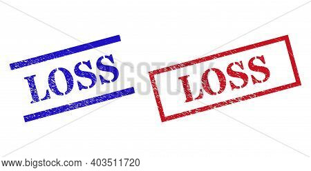 Grunge Loss Stamp Seals In Red And Blue Colors. Seals Have Rubber Style. Vector Rubber Imitations Wi