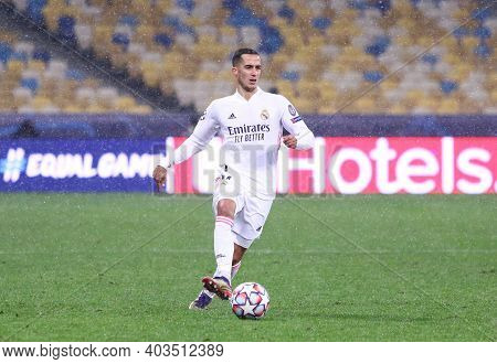 Kyiv, Ukraine - December 1, 2020: Lucas Vazquez Of Real Madrid Controls A Ball During The Uefa Champ