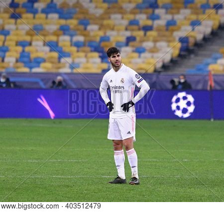 Kyiv, Ukraine - December 1, 2020: Marco Asensio Of Real Madrid Reacts After The Uefa Champions Leagu