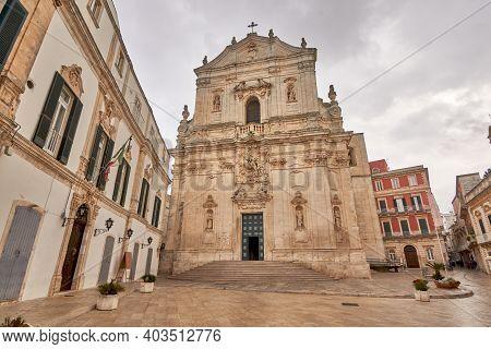 Martina Franca, Apulia. Basilica Of San Martino In Piazza Plebiscito, Province Of Taranto, On A Clou
