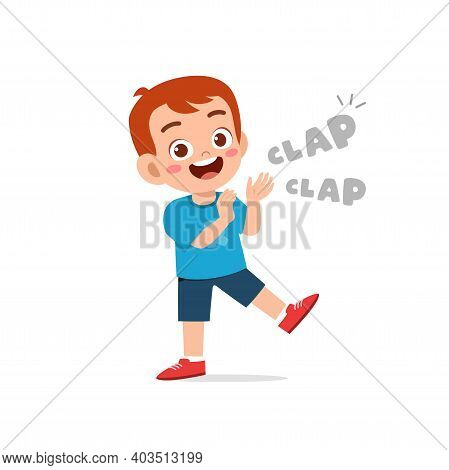 Happy Cute Little Kid Boy Standing And Clap The Hand