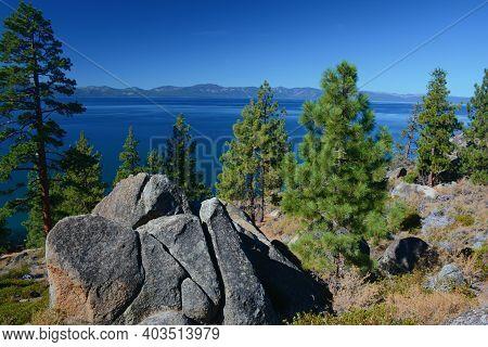 Sunny Vista On Logan Shoals, A Scenic Wayside Overlooking The Eastern Shore Of Lake Tahoe, Nevada.