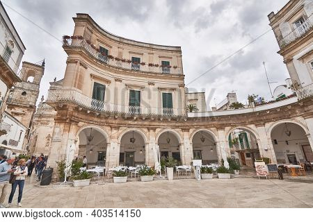 Martina Franca Apulia Italy November 2019 : Tourists And Locals Gather Around Piazza Plebiscito, Poi