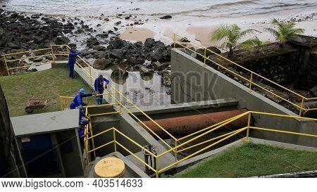Salvador, Bahia, Brazil - January 15, 2021: Workers From Empresa Baiana De Saneamento - Embasa, Are