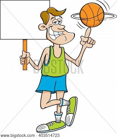 Cartoon Illustration Of A Smiling Basketball Player Spinning A Basketball On His Finger While Holdin