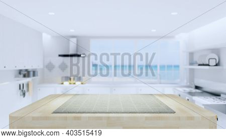 Kitchen Interior Background With Counter Or Table. Decoration Top Surface By Wood Texture And Tablec