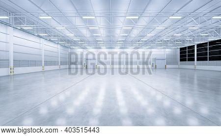3d Rendering Of Factory, Warehouse, Hangar Or Industrial Building. And Security Door, Roller Door Or