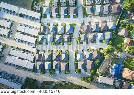 Housing Subdivision Or Housing Development. Also Call Tract Housing Consist Of House And Constructio