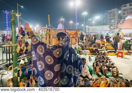Kolkata, West Bengal, India - 31st December 2018 : Seller Woman Arranging Handmade Jute Products, Ha