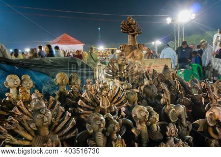 Kolkata, West Bengal, India - 31st December 2018 : Goddess Durga And Other Terracotta Dolls Being Di
