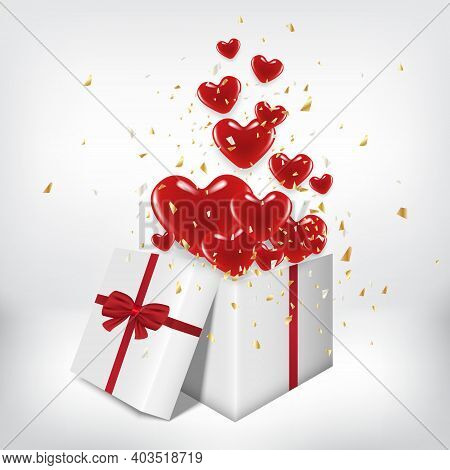 White Gift Box Open And Red Heart Balloon Float Out With Grey Room Background. Valentine's Day Conce