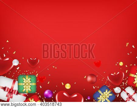 Valentine's Day Concept With Hearts On With Copy Space Can Put Your Text On. Use For Greeting Card O