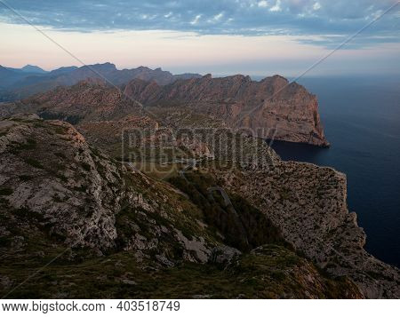 Panorama Rock Cliff Mediterranean Sea Landscape Mirador Es Colomer Viewpoint Port De Pollenca Balear