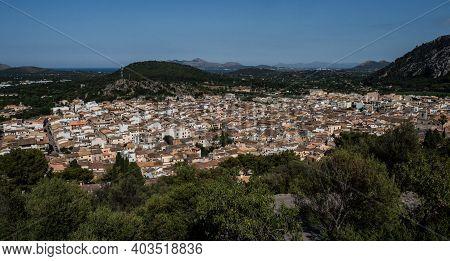 Panorama View Of Mediterranean City Town Pollenca Pollensa From Calvari Hill Mountain Viewpoint Mall