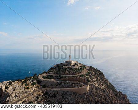 Aerial Panorama Of Cap De Formentor Lighthouse Building Winding Road Street Cliff Coast Mallorca Bal