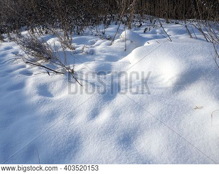 Fresh Snow On A Vacant Lot Lit Up By The Morning Sun