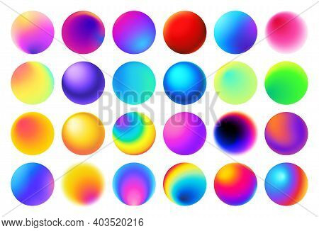 Round Button With Vivid Neon And Holographic Colors. Spheres With Colorful Gradients Vector Set