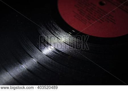 Close-up Of Abstraction, Old Vinyl Records. Music Of The Last Century. Photo Of A Selective Focus Vi