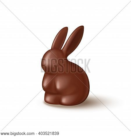 Chocolate Bunny Isolated On White Background. Realistic Chocolate Rabbits. Vector Illustration With