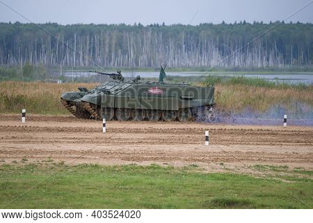 Alabino, Russia - August 27, 2020: Russian Heavy Combat Vehicle Of Flamethrowers Bmo-t - Participant