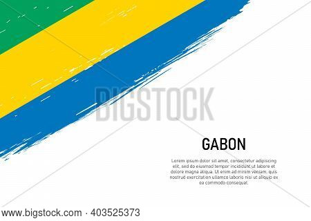 Grunge Styled Brush Stroke Background With Flag Of Gabon. Template For Banner Or Poster.
