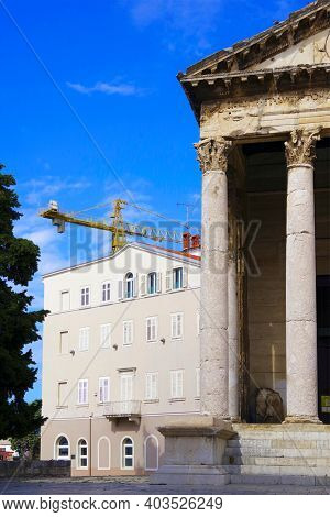 Architectural detail  of Pula, the largest city in Istria Croatia and popular tourist destination known for its Roman monuments