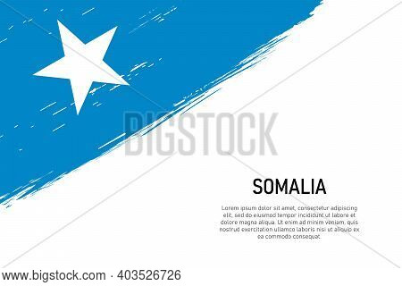 Grunge Styled Brush Stroke Background With Flag Of Somalia. Template For Banner Or Poster.