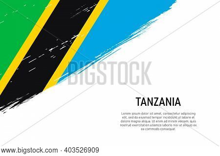 Grunge Styled Brush Stroke Background With Flag Of Tanzania. Template For Banner Or Poster.