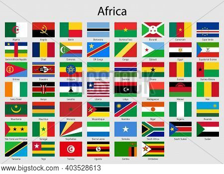 Set Of Flags African Countries, All Africa Flag Collection