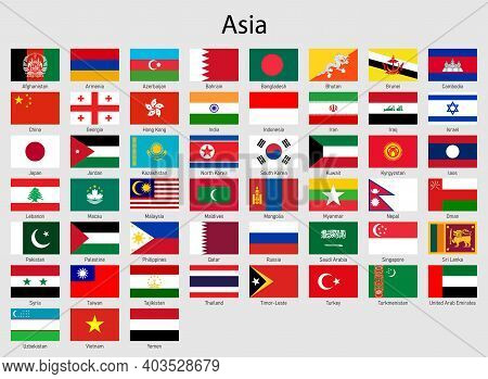 Set Of Flags Asian Countries, All Asia Flag Collection