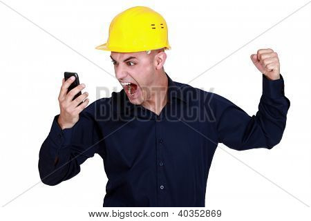 Worker angry with mobile