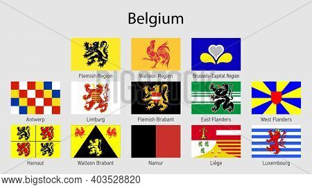Set Flags Of The Regions Of Belgium, All Belgian Provinces Flag Collection
