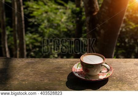 Delicious Hot Coffee On Wooden Table. Morning Drink. Morning Drink For Working People.