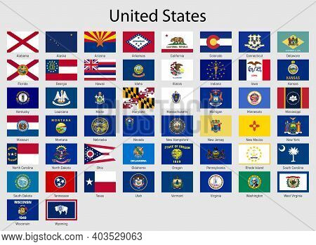 Set Flags Of The States Of Usa , All United States Regions Flag Collection