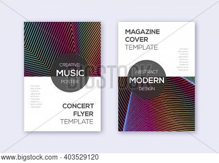 Modern Cover Design Template Set. Rainbow Abstract Lines On Wine Red Background. Exotic Cover Design