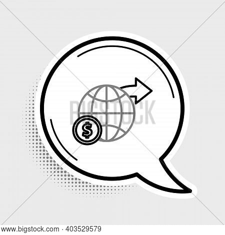 Line Earth Globe With Dollar Symbol Icon Isolated On Grey Background. World Or Earth Sign. Global In