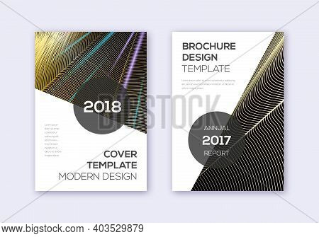 Modern Cover Design Template Set. Gold Abstract Lines On Black Background. Extra Cover Design. Brill