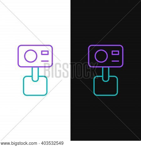 Line Action Extreme Camera Icon Isolated On White And Black Background. Video Camera Equipment For F