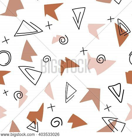 Abstract Contemporary Modern Trendy Vector Illustration. Seamless Pattern With Shiver Of Ceramics Po