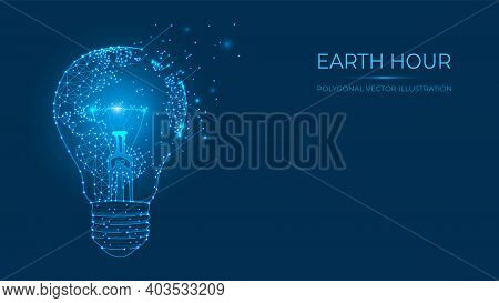 Earth Hour Vector Illustration. Abstract Polygonal Light Bulb And Earth Map Made Of Lines And Dots I